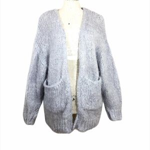 Snidel Gray Woven Knit Open Cardigan Sweater